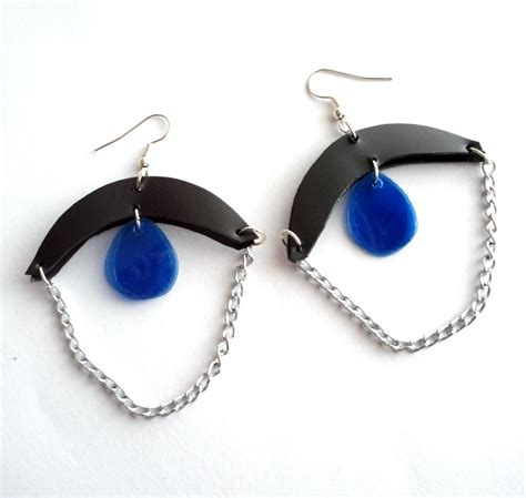 upcycle jewelry blue black upcycled jewelry set earrings and necklace