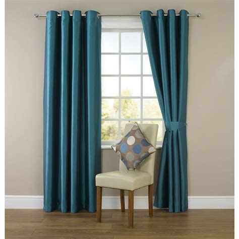 Wilko Faux Silk Eyelet Curtains Dark Teal 167 X 183cm At