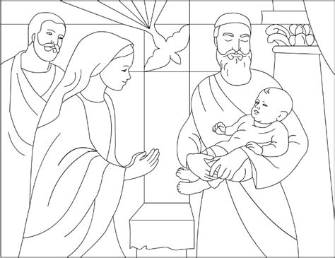 baby jesus presented at the temple coloring pages presentation of jesus in the temple
