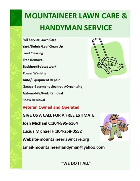 lawn card flyer template free high quality lawn care flyer 2 lawn care service flyer