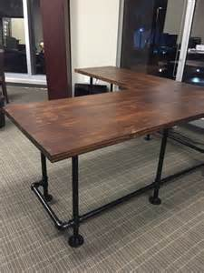 Computer Desk For Sale Near Me Custom Made Quot L Quot Shaped Wood And Pipe Desk For Sale In