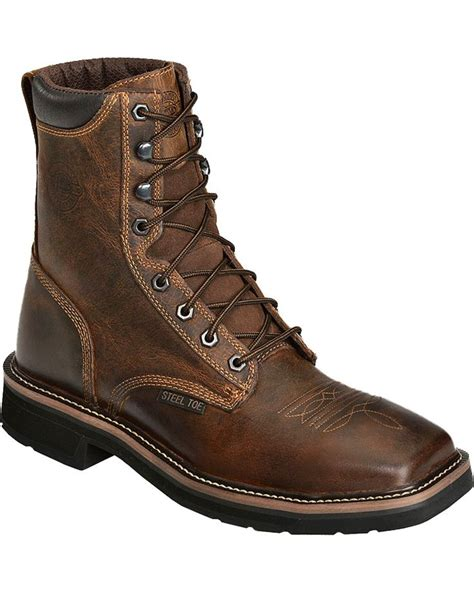 justin steel toe lace up boots justin s stede steel toe lace up work boots boot barn