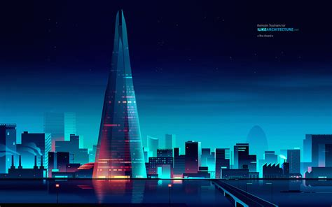 beautiful vibrant illustrations  city skylines