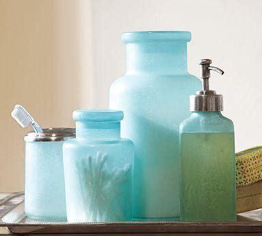 Pottery Barn Bathroom Accessories Blue Glass Bath Accessories Pottery Barn