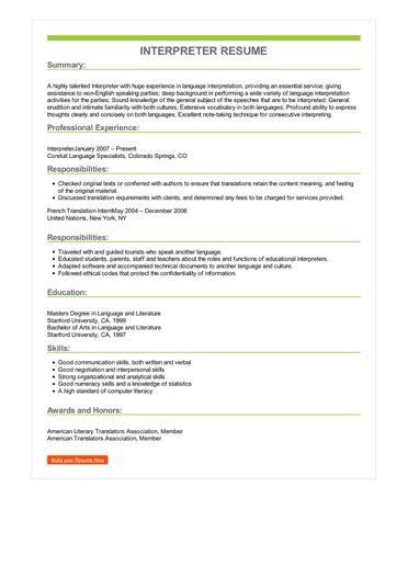 Sample Interpreter Resume