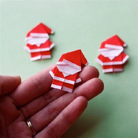 Origami Gift Tags - add tiny folded santas to gift tags cards and more