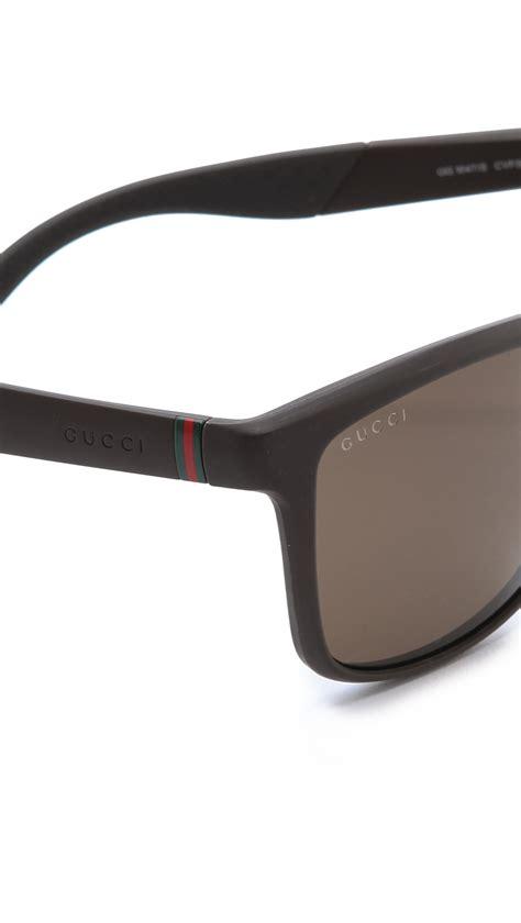 Glasses Gucci D9870 Polarized lyst gucci polarized square sunglasses in brown for