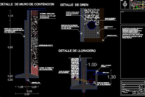 detail retaining wall  tunnel dwg detail  autocad