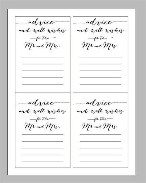 Printable Digital Wedding Advice Card, Advice Wisdom and