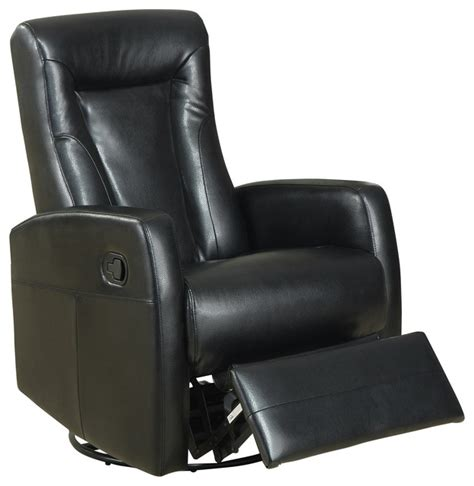 leather swivel rocker recliner chair monarch specialties 8082bk swivel rocker recliner in black