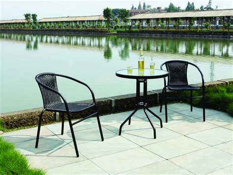 garden patio all weather black wicker 3 bistro set
