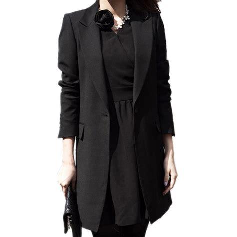 Black Blazer 1 slim blazer coat 2017 new black fashion casual jacket sleeve one button suit