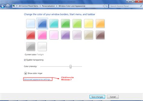 tutorial change advanced appearance settings in windows 8 and 7