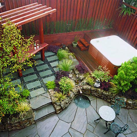 patio space small garden secrets sunset