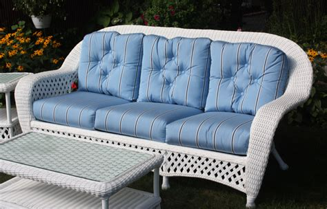 white outdoor wicker sofa