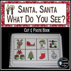 christmas santa santa what do you see cut paste book