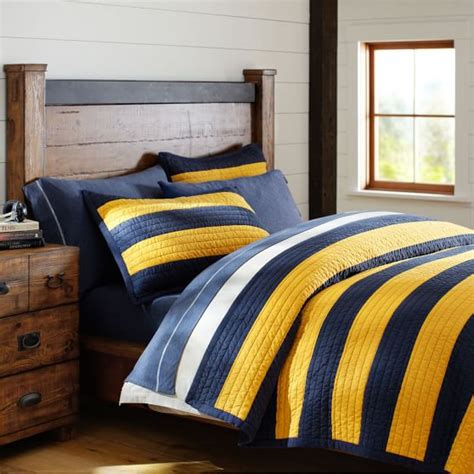 Navy Striped Quilt by Rugby Stripe Quilt Sham Navy Yellow Pbteen