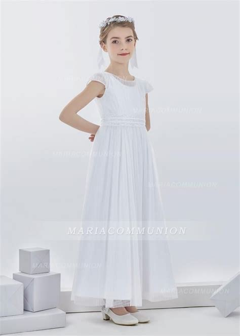 simple short sleeve pleated long tulle  communion