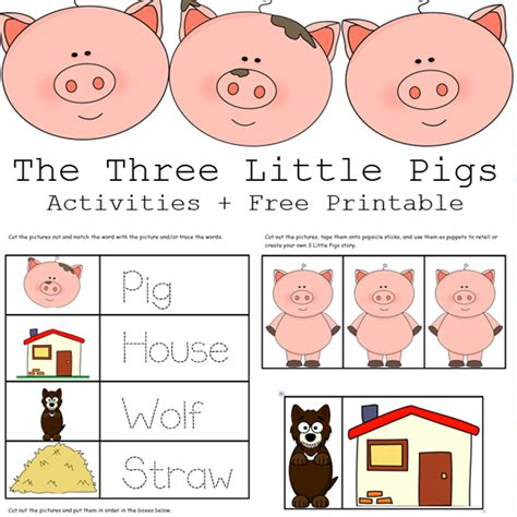 the three pigs puppet templates the 3 pigs activities free printables