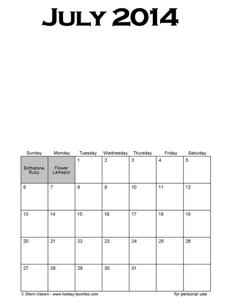 printable calendars july 2014 printable july 2014 calendars holiday favorites