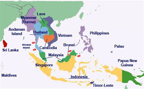 south east countries map discover the underwater world around south east asia