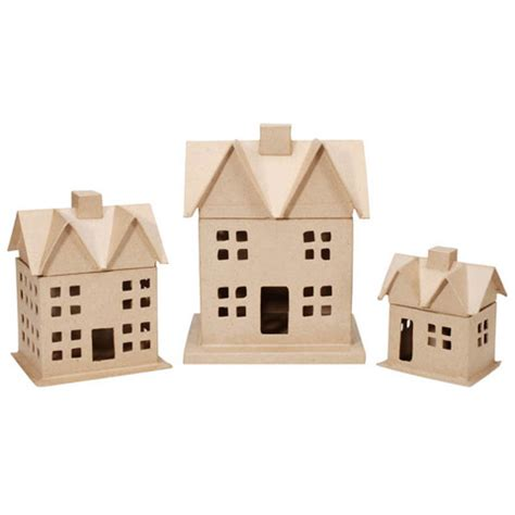 How To Make Paper Mache Houses - paper mache house box set of 3