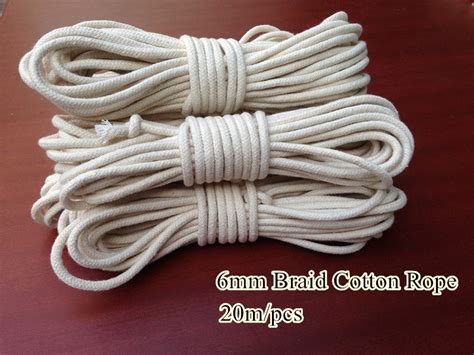 6mm Braided Rope - 3 colors 6mm x20m braided cotton rope with strong