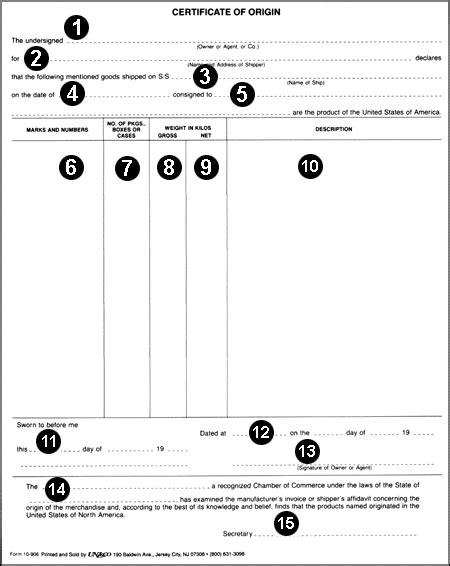 certificate of origin form selimtd