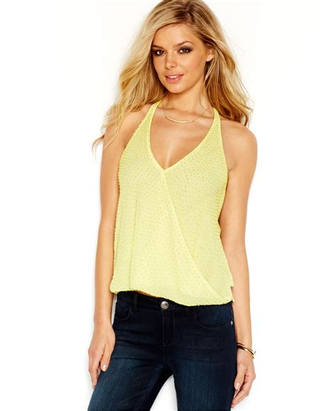 beaded halter top guess beaded wrap front halter top in yellow lyst