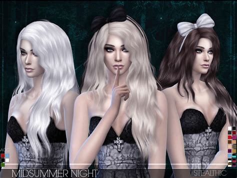 the sims resource stealthic captivated hair sims 4 stealthic midsummer night female hair