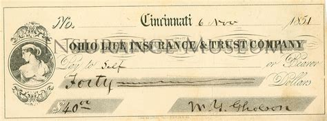 Insurance Background Check Ohio Insurance And Trust Company 1851 11 06 Checks Found In The Musuem Of