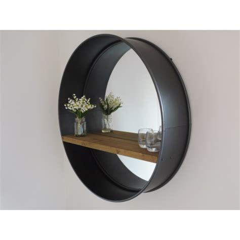 Miroir Style Industriel by Miroir Rond Style Industriel R 233 Tro Avec Tablette En Bois