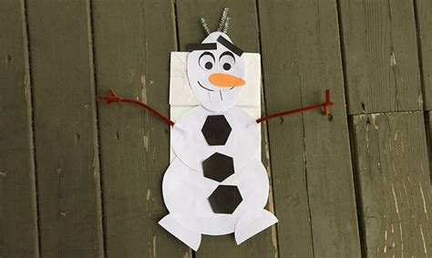 paper bag snowman craft frozen crafts olaf inspired paper bag puppet project