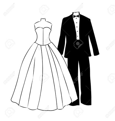 Wedding Tuxedo Clipart by White Dress Clipart Formal Attire Pencil And In Color
