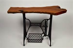 mesquite entry table with an antique singer by