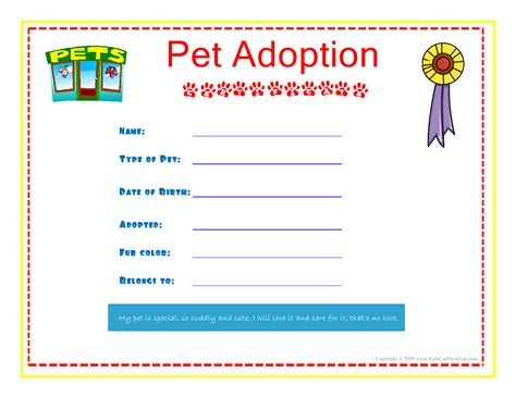 stuffed animal name card template pet adoption certificate for the to fill out about