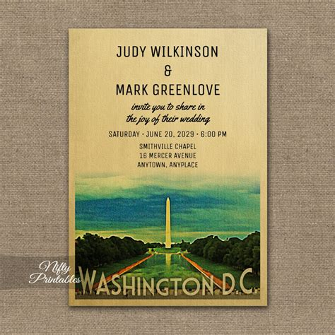 wedding invitation washington dc washington wedding invitation printed nifty printables