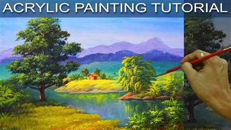 acrylic painting step by step tutorial the big oak tree beside the river in step by step easy
