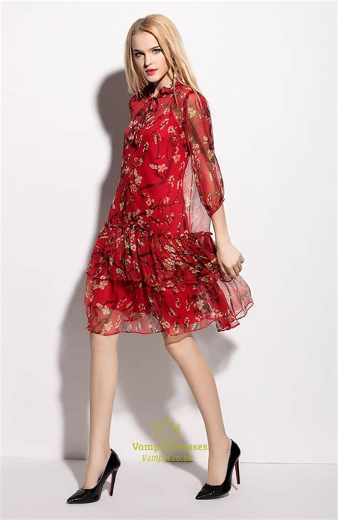 Print Sleeve Dress printed chiffon knee length dresses with sleeves fashion