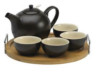 Black Set Essence Black Teapot Set With Bamboo Tray Enjoyingtea