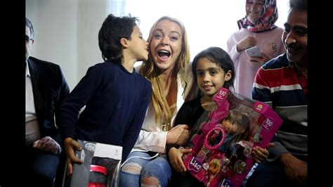 lindsay lohan visits syrian refugees in istanbul youtube