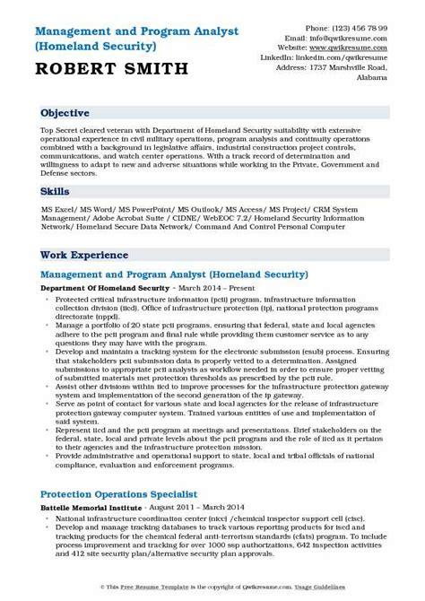 Program Analyst Resume by Management And Program Analyst Resume Sles Qwikresume