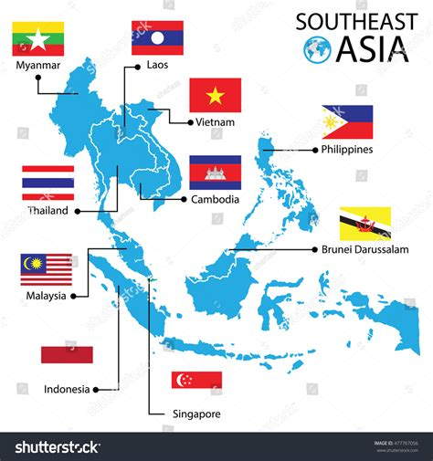south asia world map southeast asia world map vector illustration stock vector