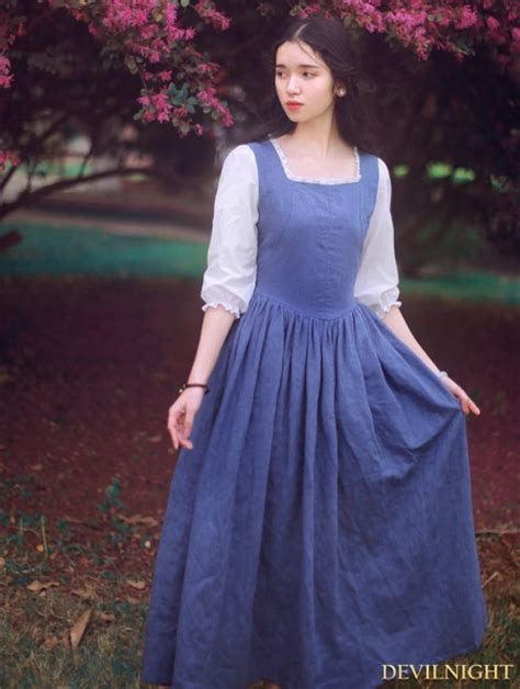 white  blue vintage medieval inspired dress
