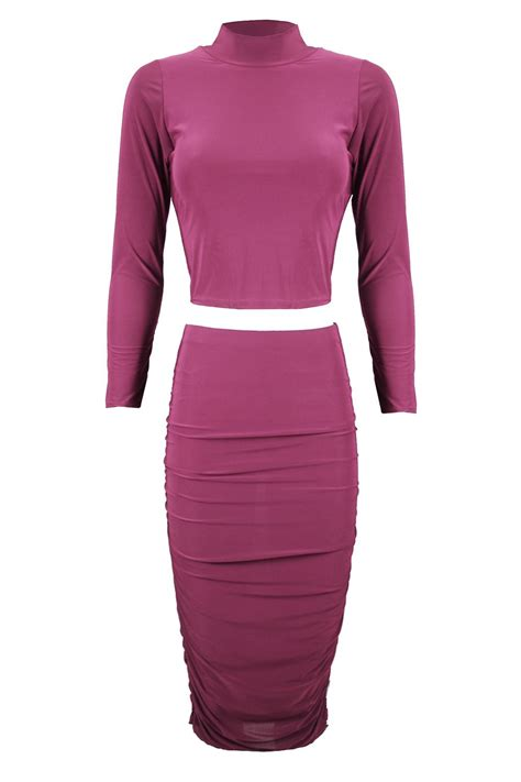 womens slinky polo neck crop top two co
