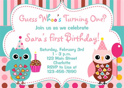 owl birthday invitation birthday owls cupcake you print