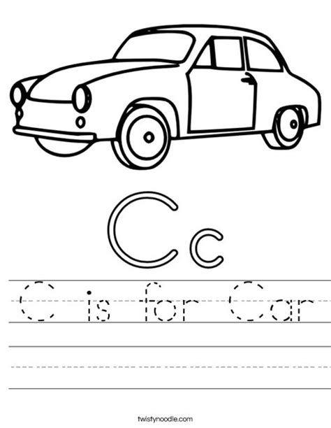 preschool coloring pages of cars c is for car worksheet twisty noodle preschool