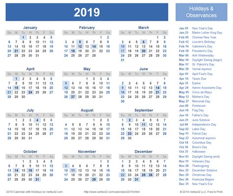 calendar  holidays printable calendar yearly