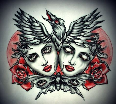 red raven tattoo and black dead heads with and butterfly