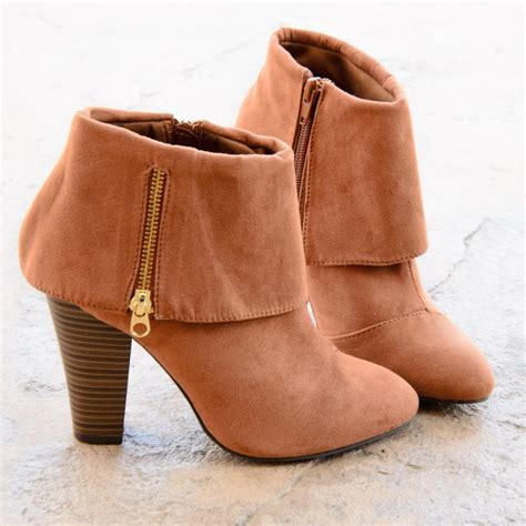 womens ankle slippers womens ankle boots fold chunky heel almond toe zip up